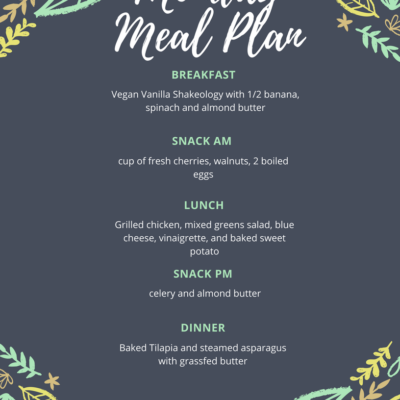 My Full Meal Plan for Monday