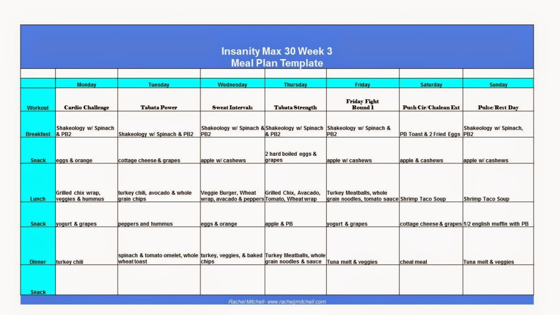 insanity max 30 week 3 meal plan and a confession rachel j mitchell